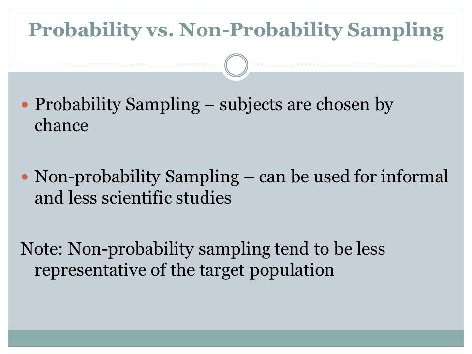 Probability vs. Non-Probability Sampling