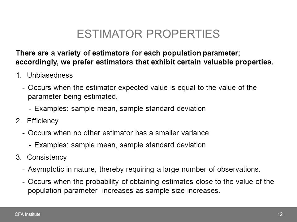 Estimator properties