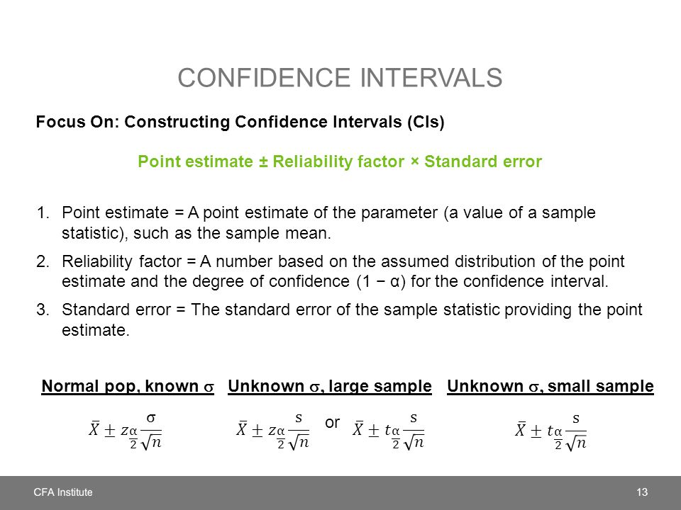 Confidence intervals Focus On: Constructing Confidence Intervals (CIs)