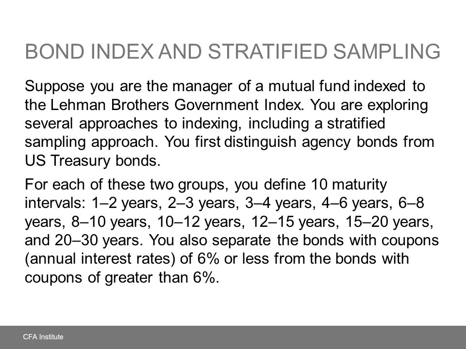 Bond Index and Stratified Sampling