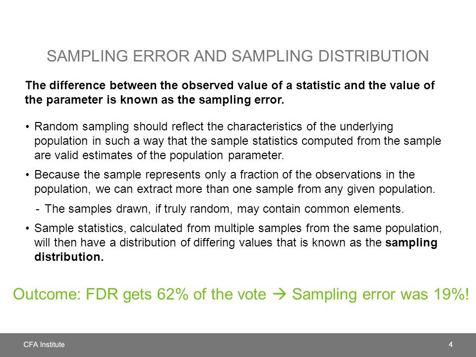 Sampling error and sampling distribution