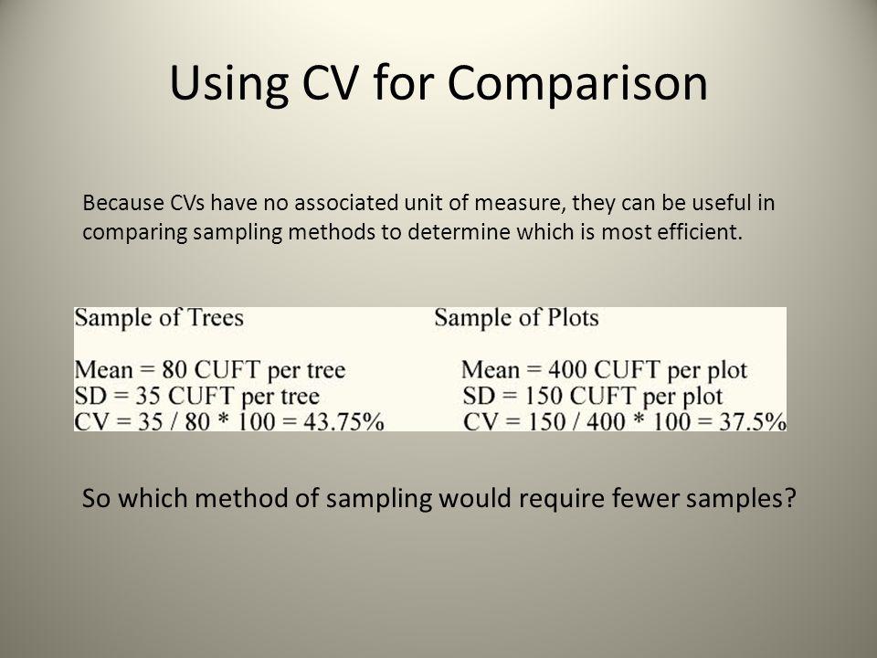 Using CV for Comparison
