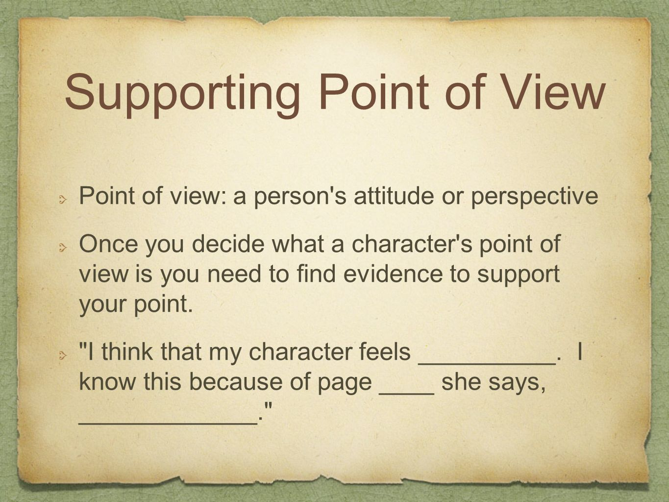 Supporting Point of View