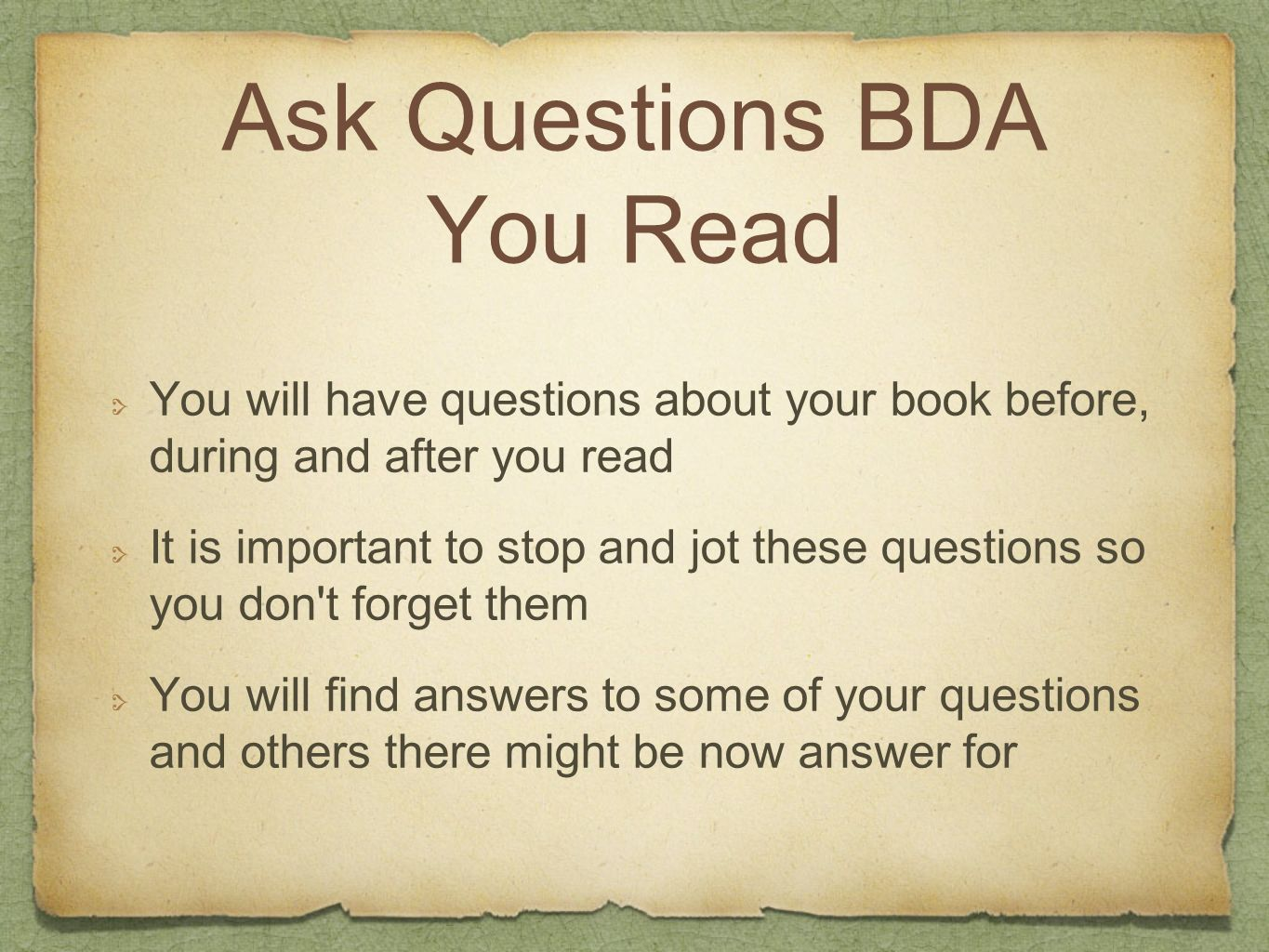 Ask Questions BDA You Read