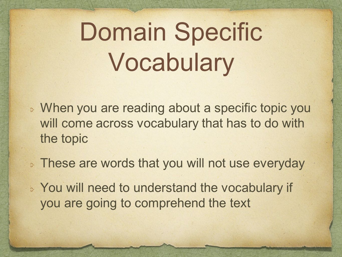 Domain Specific Vocabulary