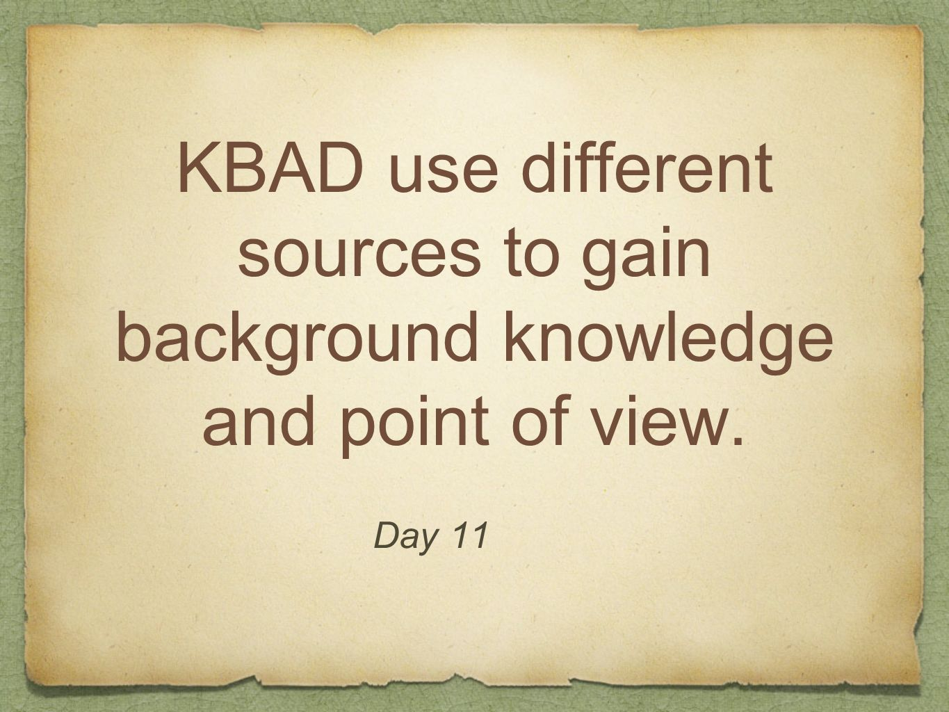 KBAD use different sources to gain background knowledge and point of view.
