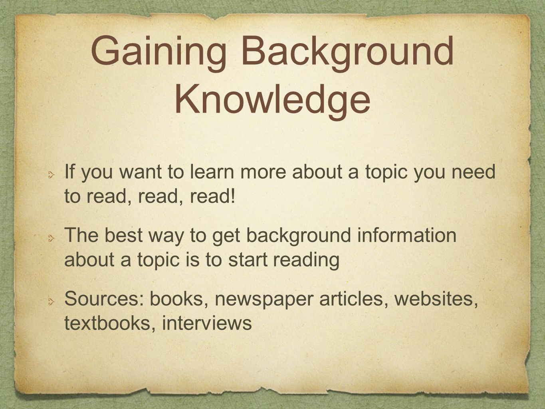 Gaining Background Knowledge