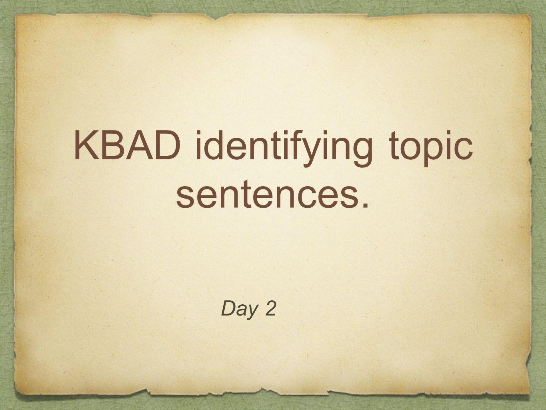 KBAD identifying topic sentences.