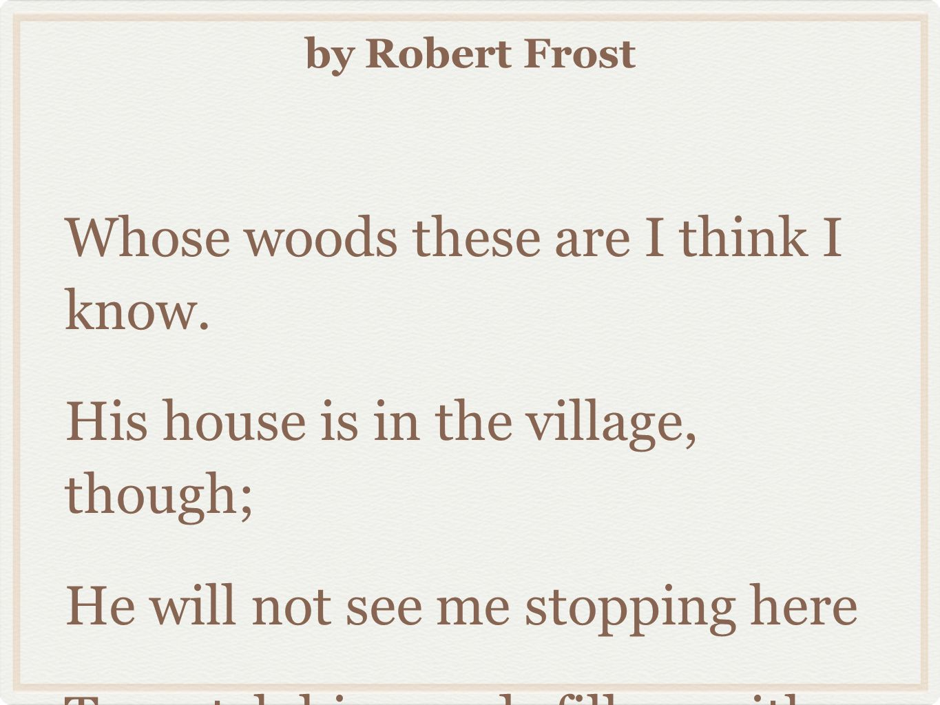 stopping by the woods on a snowy evening rhyme scheme