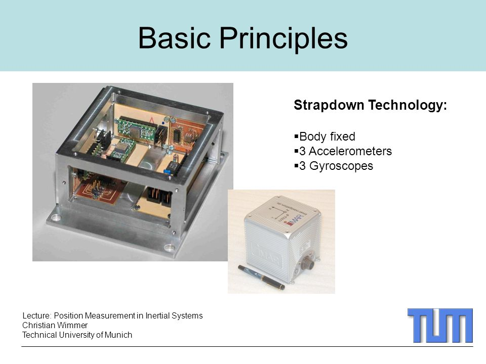 Basic Principles Strapdown Technology: Body fixed 3 Accelerometers