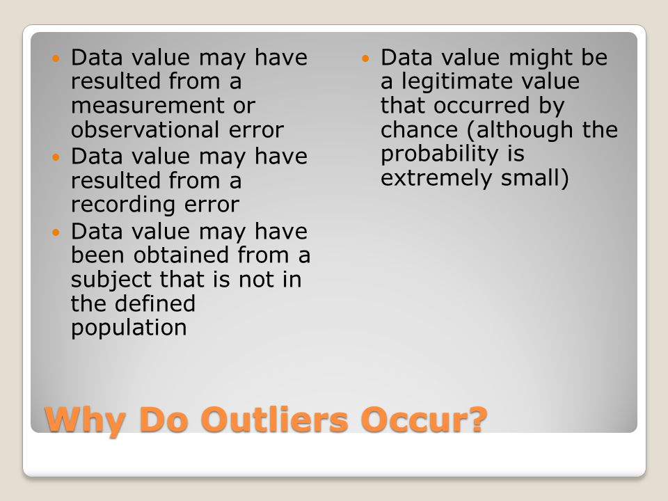 Data value may have resulted from a measurement or observational error