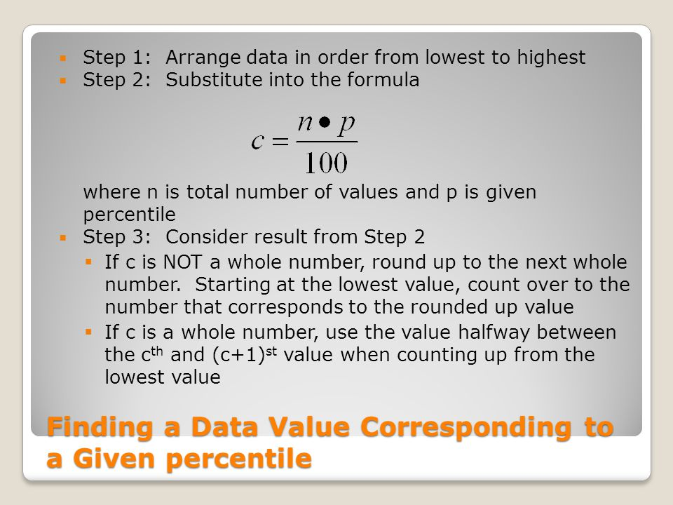 Finding a Data Value Corresponding to a Given percentile