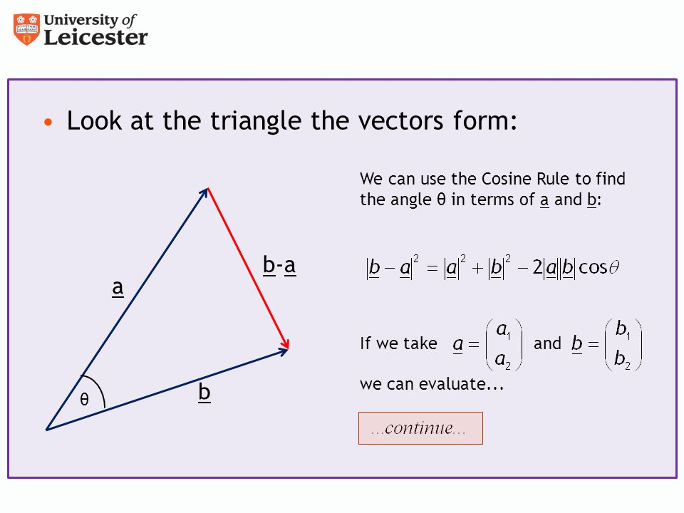 find the angle between the vectors