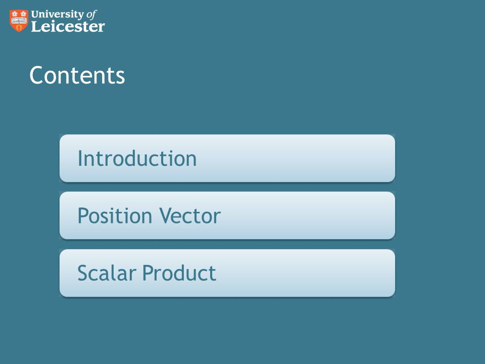 Contents Introduction Introduction Position Vector Position Vectors