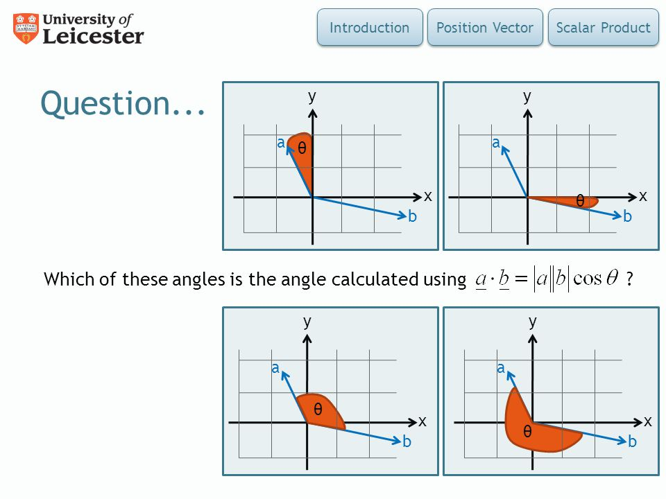 Question... Which of these angles is the angle calculated using x y
