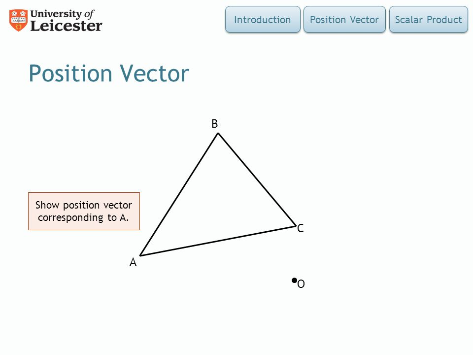 Show position vector corresponding to A.