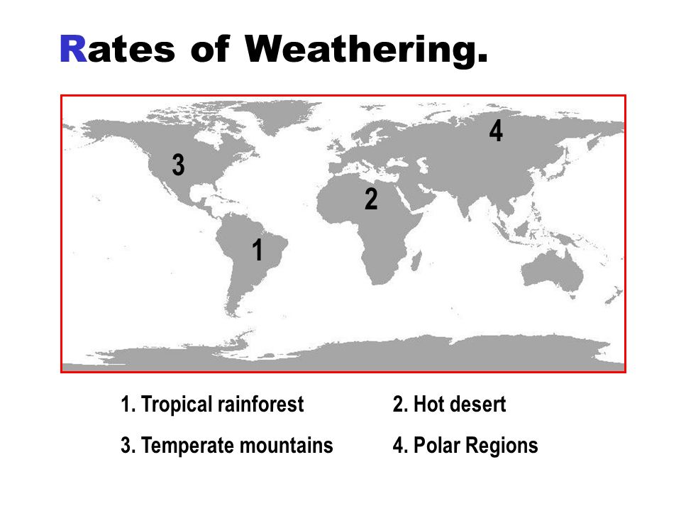 Rates of Weathering. 4 3 2 1 1. Tropical rainforest 2. Hot desert