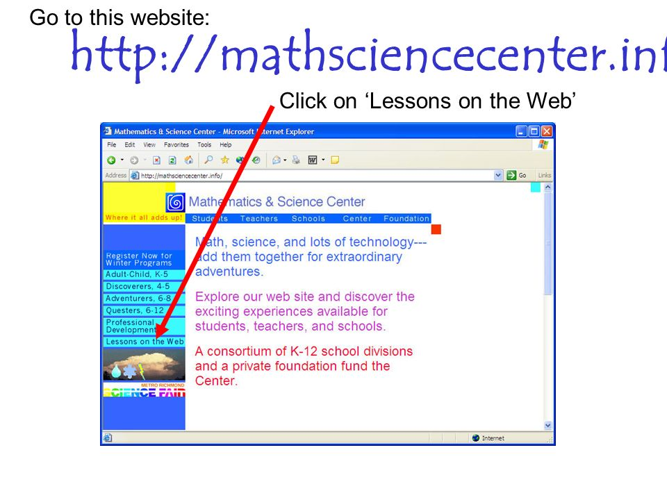 http://mathsciencecenter.info Go to this website: