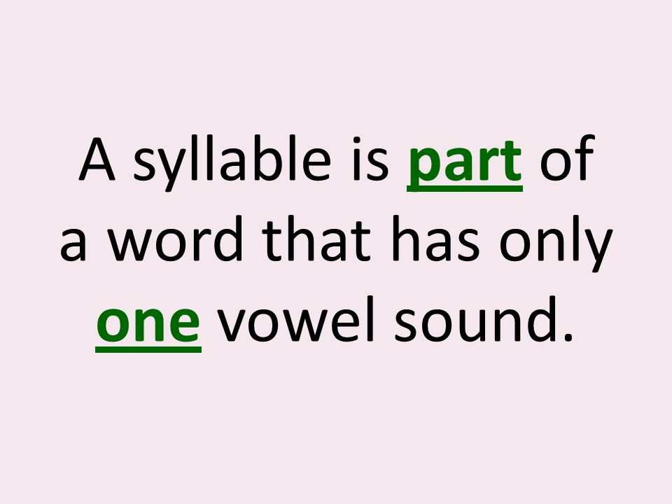 A syllable is part of a word that has only one vowel sound.