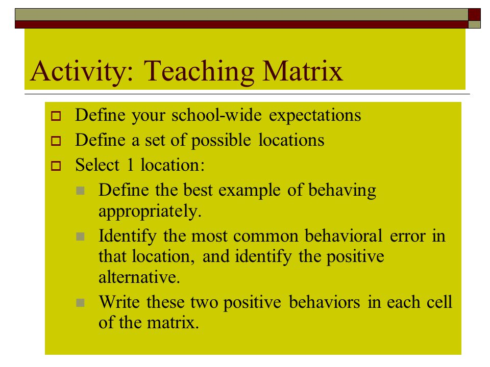 Activity: Teaching Matrix