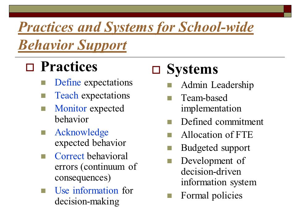 Practices and Systems for School-wide Behavior Support