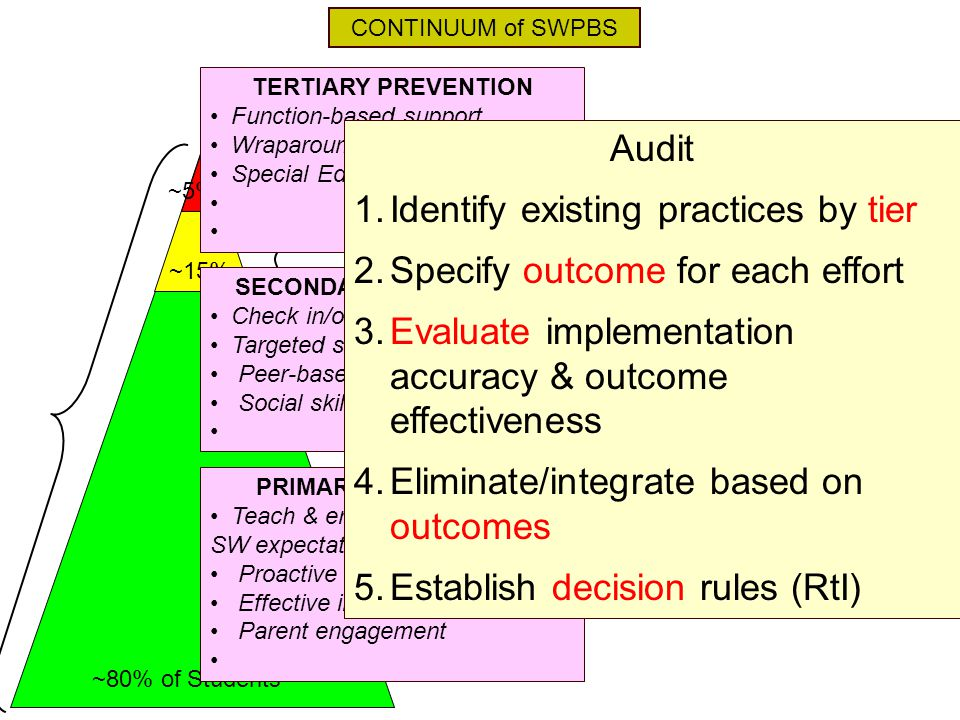 Identify existing practices by tier Specify outcome for each effort