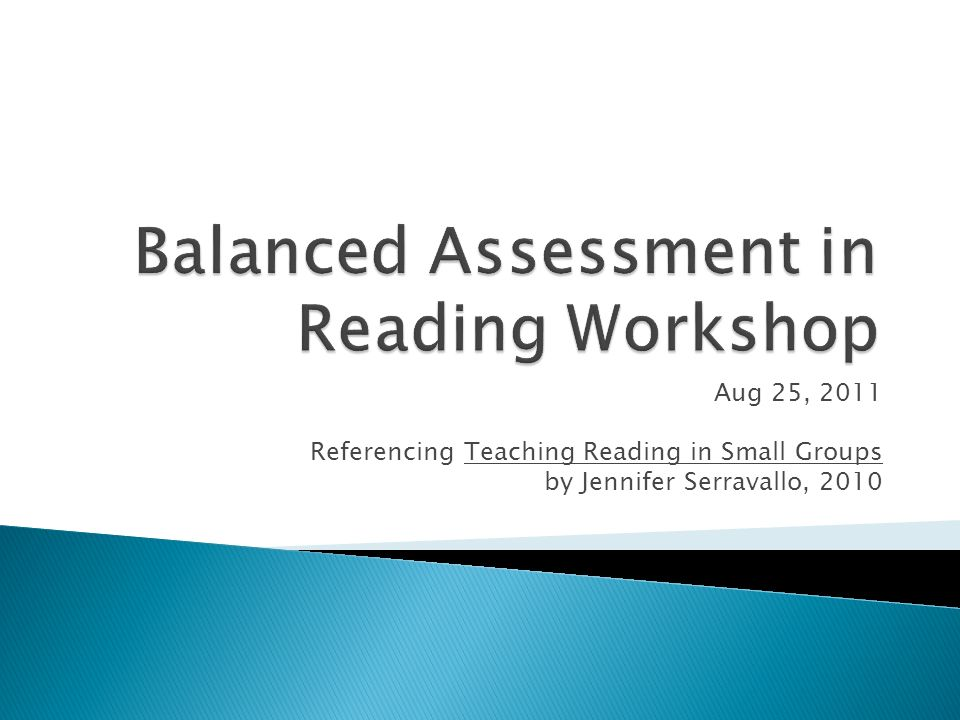 Balanced Assessment in Reading Workshop