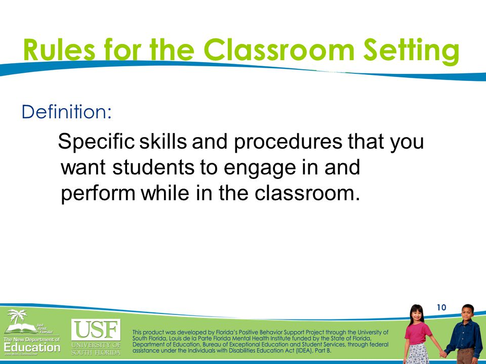Rules for the Classroom Setting