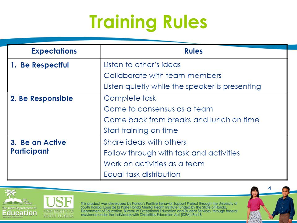 Training Rules Expectations Rules 1. Be Respectful