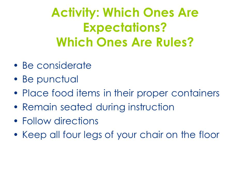 Activity: Which Ones Are Expectations Which Ones Are Rules