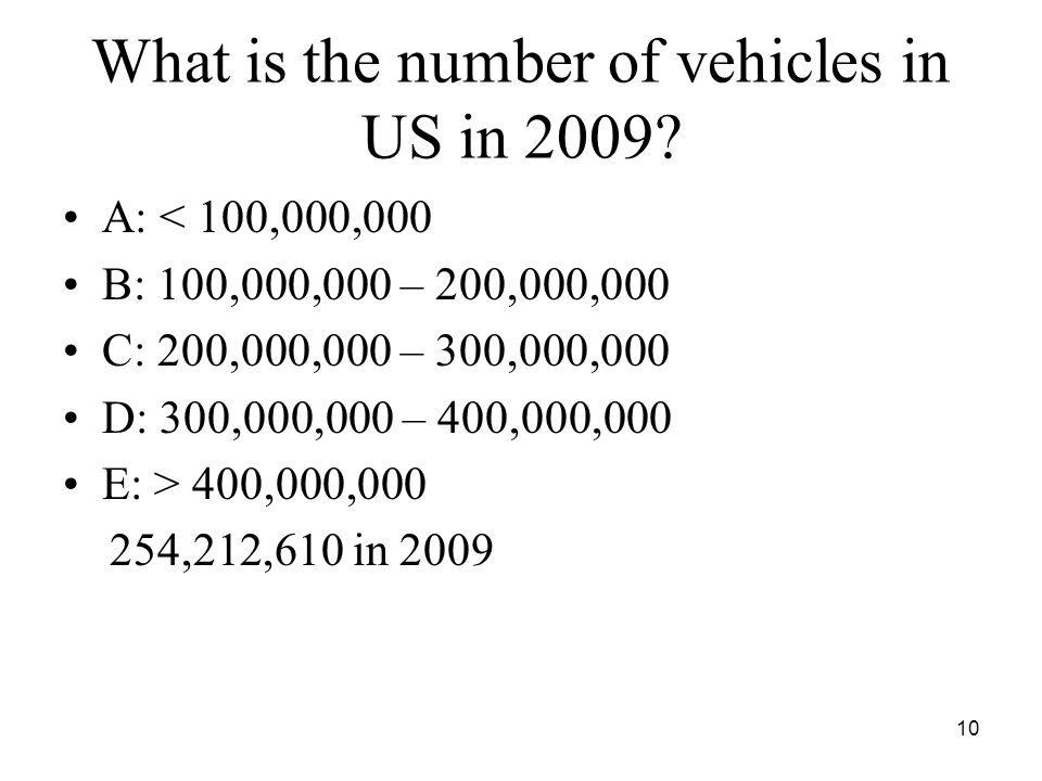 What is the number of vehicles in US in 2009