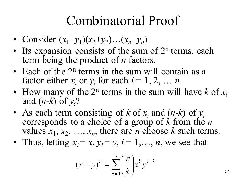 Combinatorial Proof Consider (x1+y1)(x2+y2)…(xn+yn)