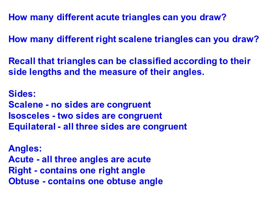 How many different acute triangles can you draw