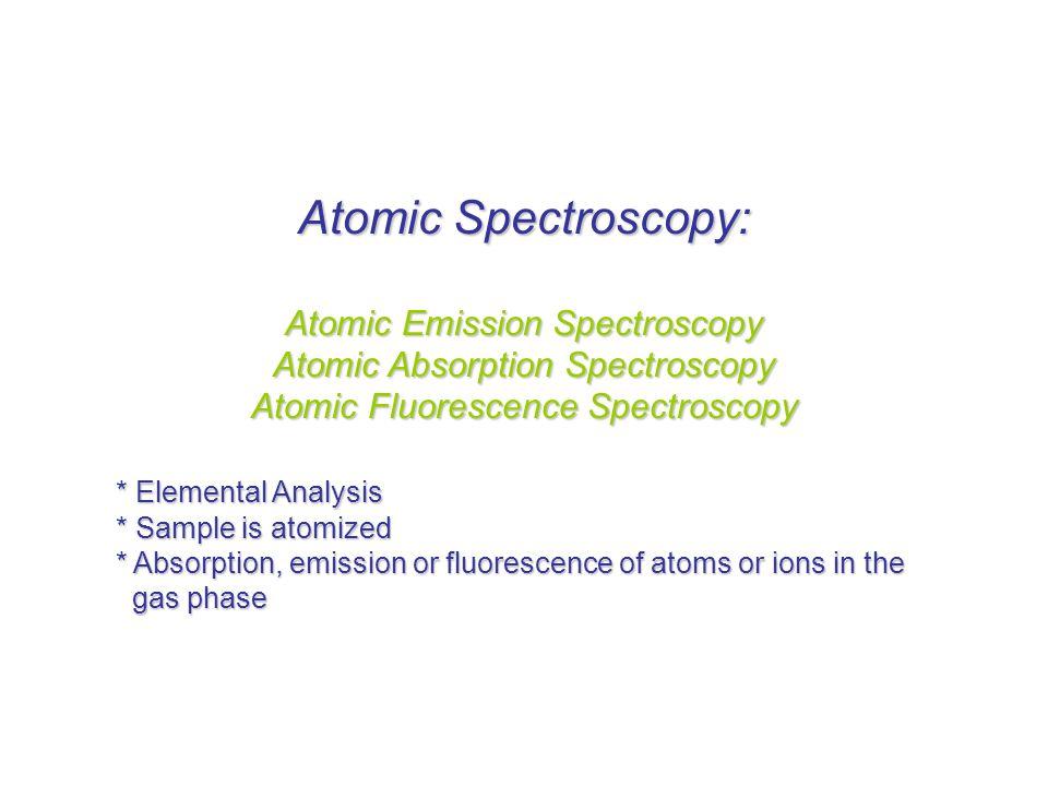 Atomic Spectroscopy: Atomic Emission Spectroscopy