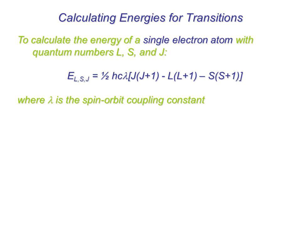 Calculating Energies for Transitions