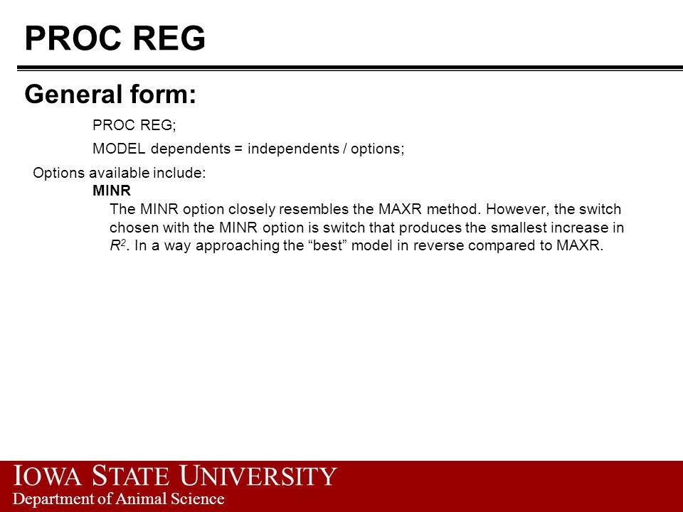 PROC REG General form: PROC REG;