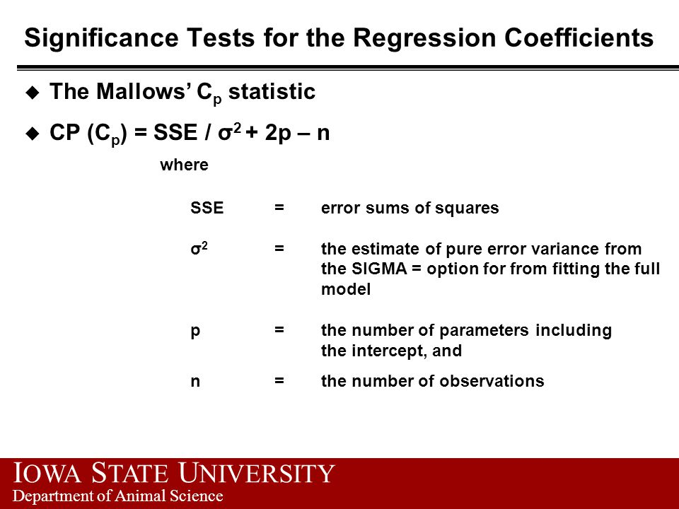 Significance Tests for the Regression Coefficients