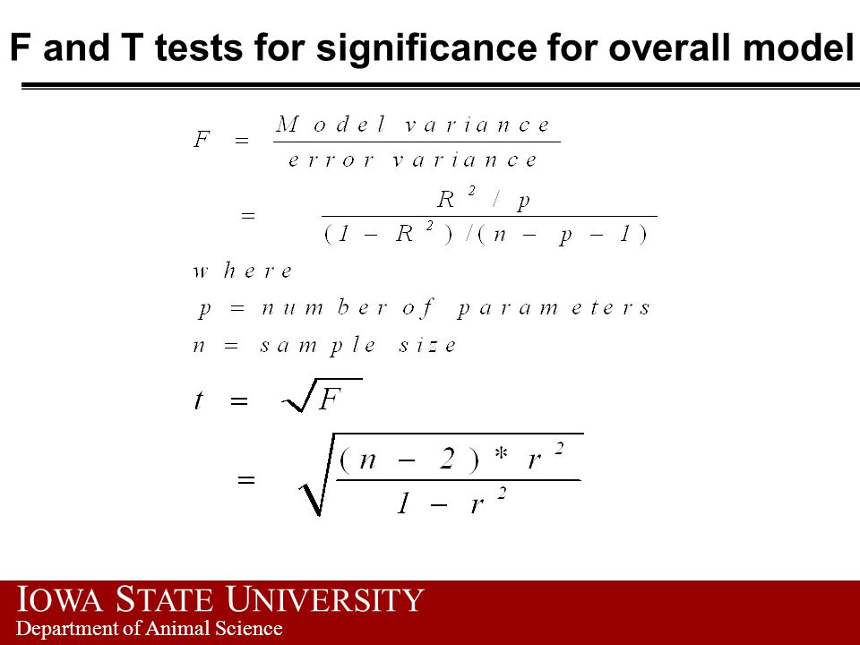 F and T tests for significance for overall model