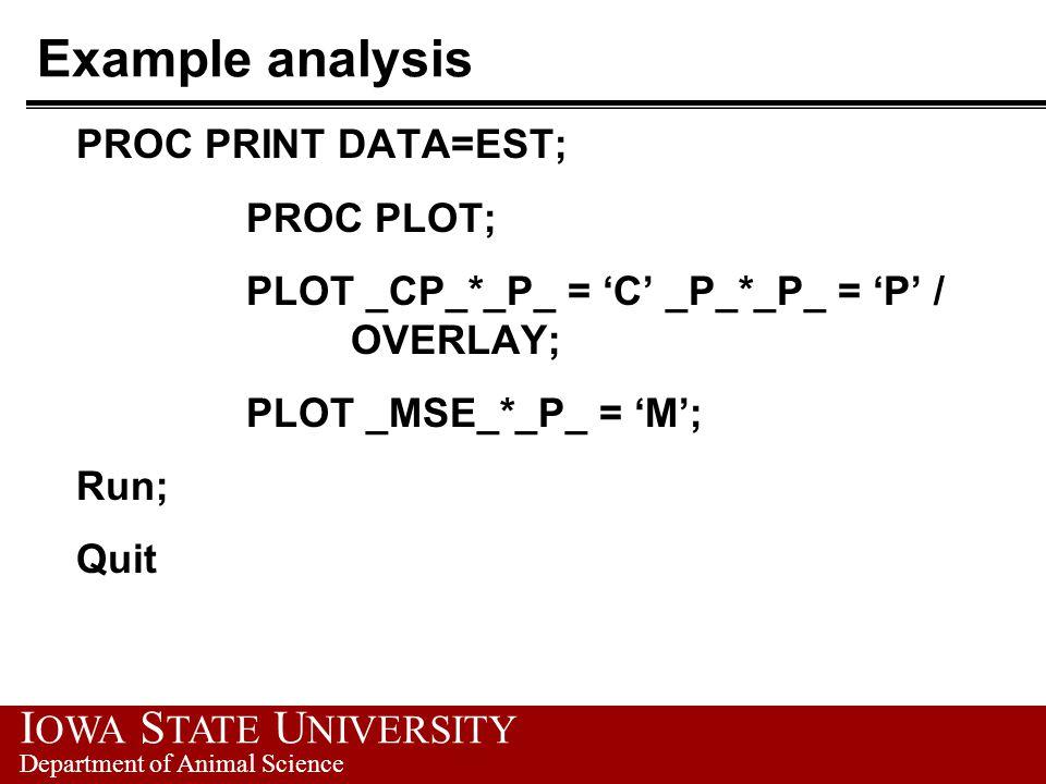 Example analysis PROC PRINT DATA=EST; PROC PLOT; PLOT _CP_*_P_ = 'C' _P_*_P_ = 'P' / OVERLAY; PLOT _MSE_*_P_ = 'M'; Run; Quit