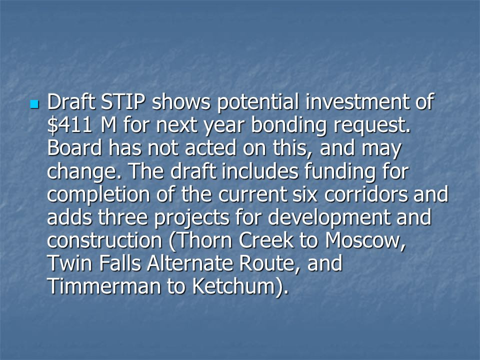 Draft STIP shows potential investment of $411 M for next year bonding request.