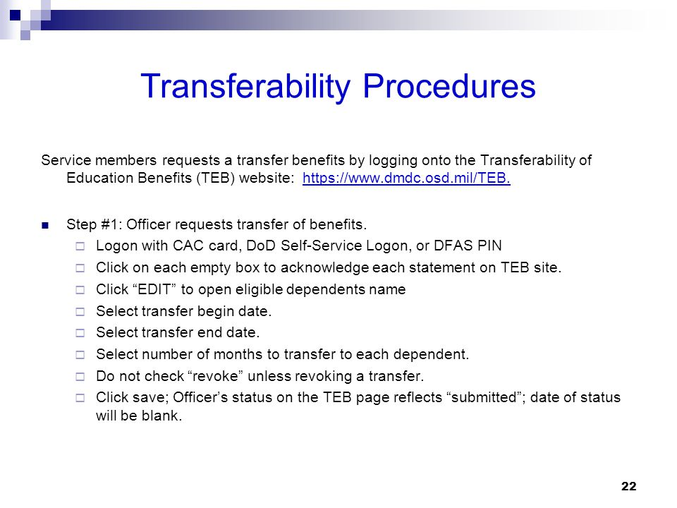 Transferability Procedures