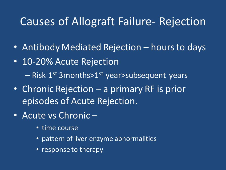 Causes of Allograft Failure- Rejection