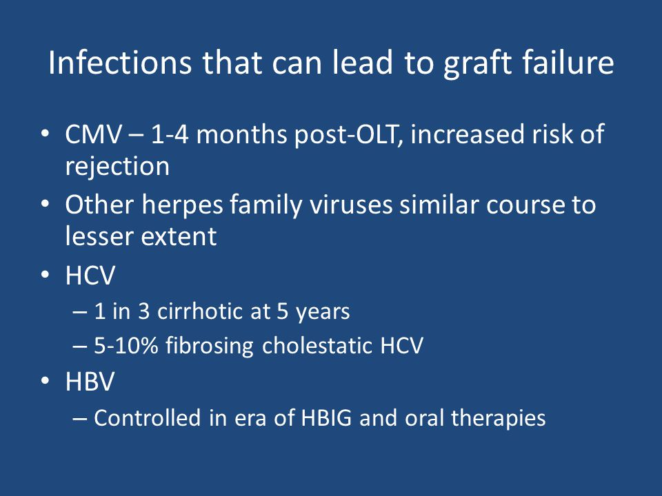 Infections that can lead to graft failure