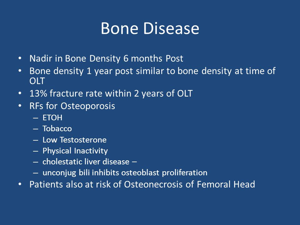 Bone Disease Nadir in Bone Density 6 months Post
