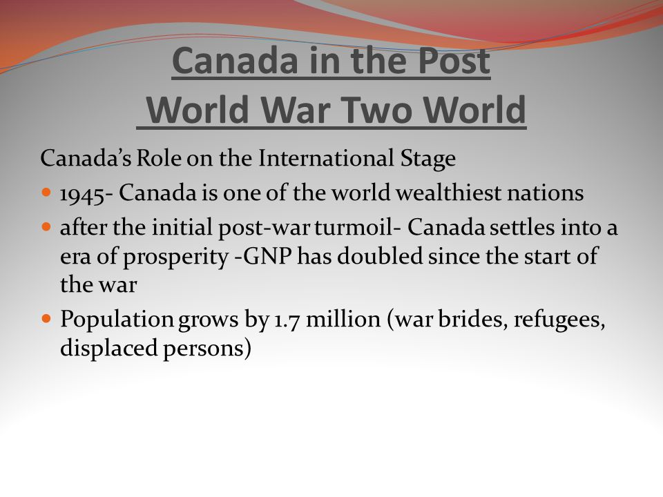 Canada in the Post World War Two World
