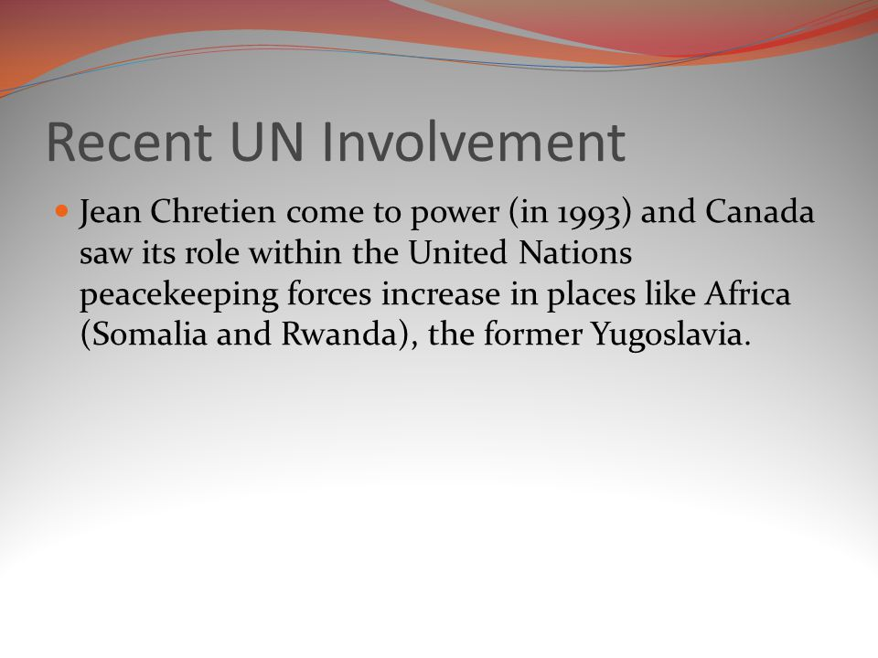 Recent UN Involvement