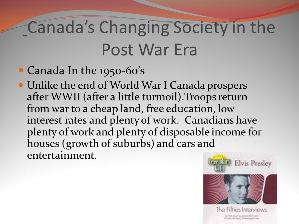 Canada's Changing Society in the Post War Era