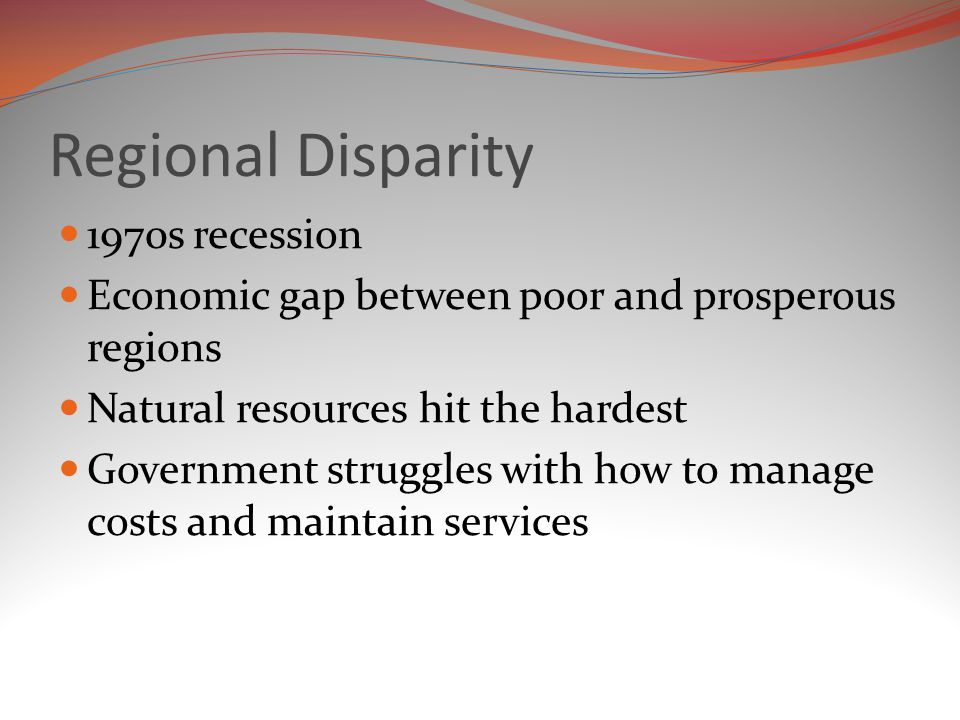 Regional Disparity 1970s recession