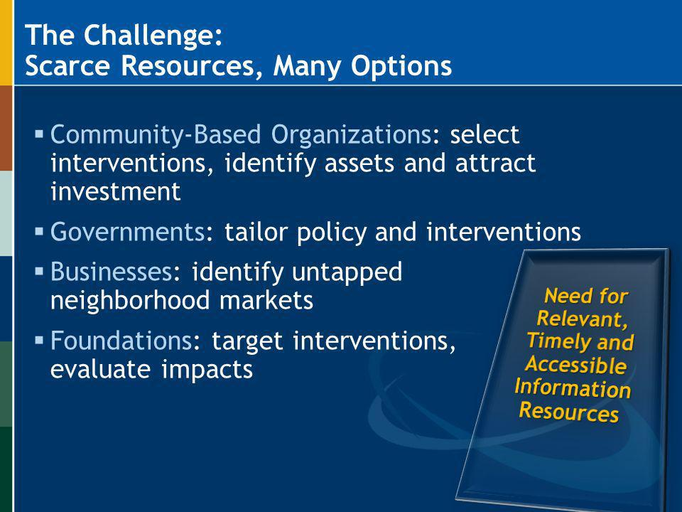 The Challenge: Scarce Resources, Many Options