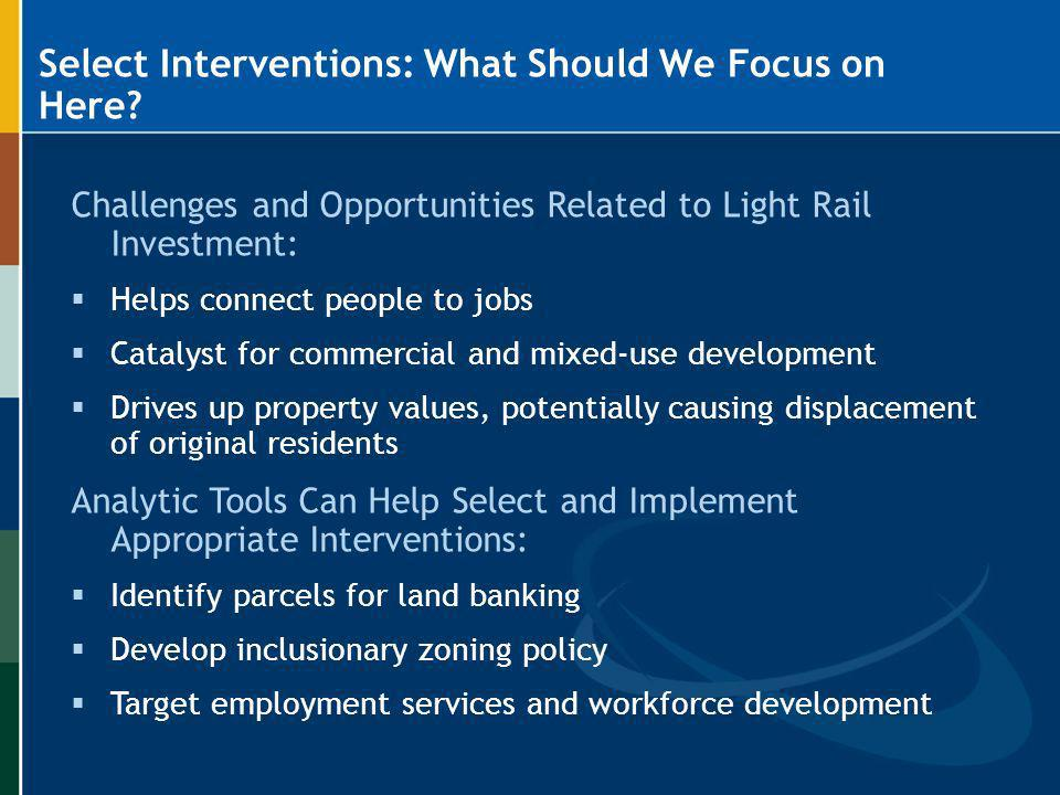Select Interventions: What Should We Focus on Here